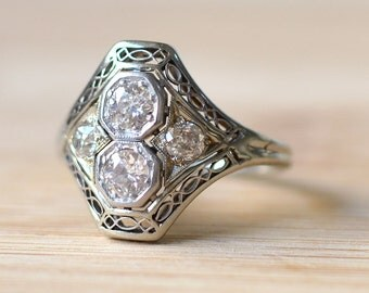 C. 1918 18K Gold Art Deco Ring with European Cut Diamonds - European Cut Diamond Ring - 1920s Engagement Ring - Art Deco Engagement Ring