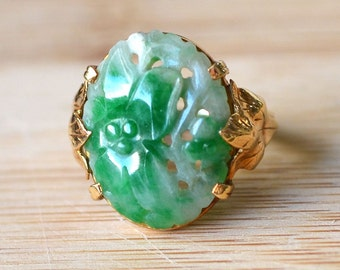 Vintage Carved Jade Ring - 14K Yellow Gold 1930s Jade Ring - Leaf Design Jade Ring - Vintage 1930s Floral Green Jade Ring