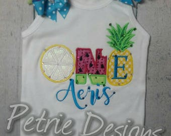 Fruit themed first birthday ruffled tank, bodysuit, or t shirt