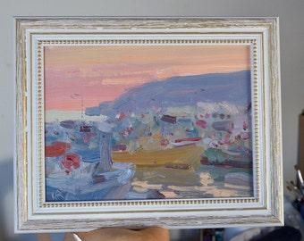 Framed painting - Calm Evening - Setubal - original Portuguese landscape seascape oil painting