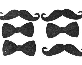 24 embellishments scrap book punchies Black paper 12 x bow tie 12 x mustaches twirly facial hair hipster victorian baddie