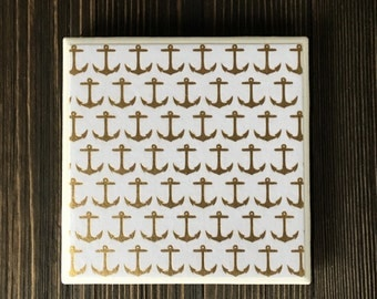 Gold Foil Anchor Coasters, Anchor Coasters, , Set of 4 Coasters
