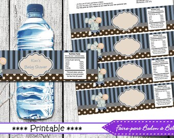 Baby Shower Water Bottle Label Wrappers - Printable Baby Shower party decorations - Elephant