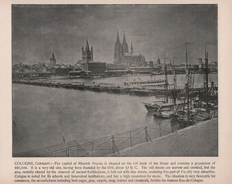 Cologne Germany, Cathedral at Cologne, 2 Prints of 1892 Photographs of Famous Scenes by Charles H. Adams