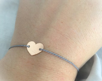 Bracelet with colored nylon cord and silver heart 925 and bath rose gold