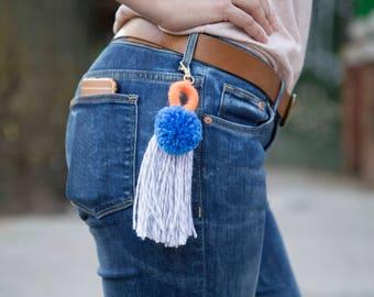 Pompom tassel keychains,tassel keychains, bag keychains, purse keychains, zipper charms, pants accesories