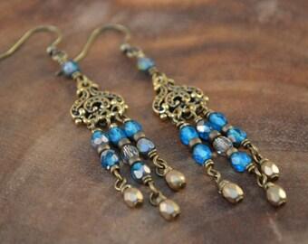 Bohemian Earrings, Chandelier Earrings, Bohemian Jewelry, Boho Earrings, Long Beaded Earrings, Boho Dangle Earrings, Czech Earrings