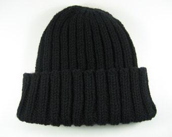 Black wool cap, black wool toque, hand knit, black toque, classic watch cap, fits all, rib knit hat, wool beanie, sailor hat, warm knit cap