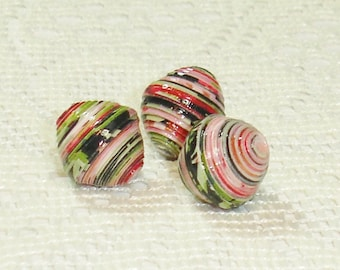 Focal Paper Beads, Loose Handmade Supplies Set of 3 Roses on Black