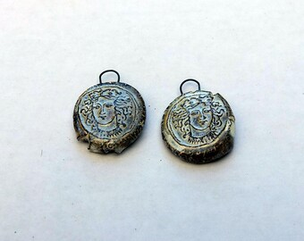 Princess, Greek Coin,Rough Artifacts, ceramic Earring Pair, Wabi Sabi, impressed, earring supply, withered jewellery supply, pearl glaze,OAK