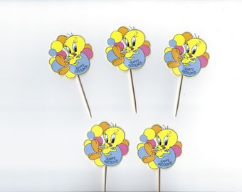 12 Tweety Bird inspiried Cupcake Toppers, Party Picks, Cupcake, Yellow Tweety Cupcakes, Theme Birthday Decor, Birthday, Celebration.