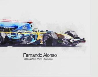 Fernando Alonso unique F1 Print - A4 limited run