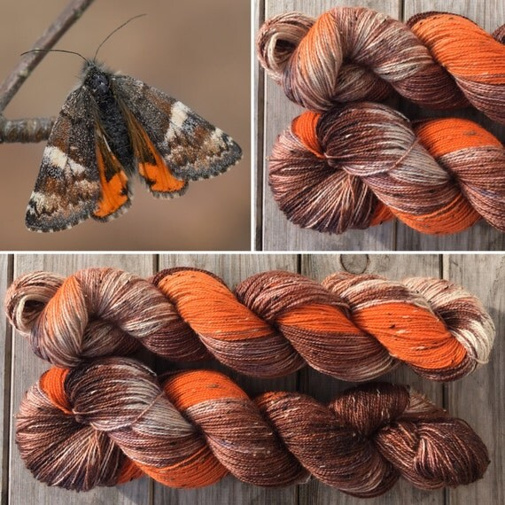 Orange Underwing Donegal sock, speckled indie dyed Bluefaced Leicester yarn