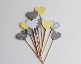 Yellow Grey White Silver glitter Heart Cupcake Toppers,Wedding cupcake topper ,Bachelorette party, Baby shower ,Engagement party, 12 picks