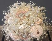 Destination wedding bouquet  beach wedding bouquet  summer wedding bouquet  shell bridsl bouquet  pale pink bouquet