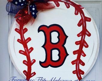 Boston Red Sox Baseball Wood Door Hanger,Baseball wreath,Red Sox Door Hanger,Red Sox Wreath,Baseball Door Hanger,Red Sox Fan,party decor