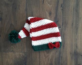 Crochet elf hat, baby elf hat, baby santa hat, baby shower gift, 0-3 month baby gift, newborn photo prop, red green pom, baby girl gift