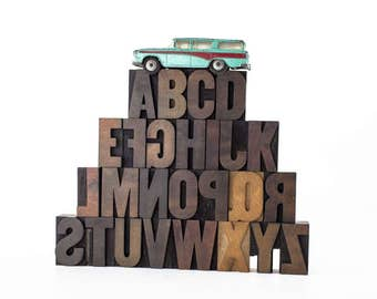 Vintage Hamilton Wood Type Letterpress Printing Blocks Full Alphabet, Printing Type Blocks, Uppercase A-Z Wood Letter Blocks, Printers Type