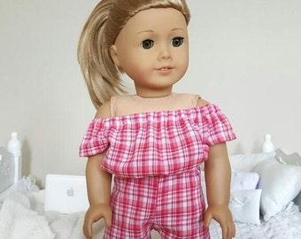 18 inch doll pink plaid romper