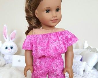 18 inch doll pink romper