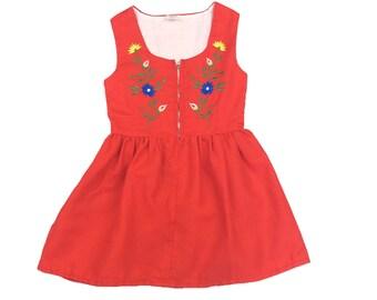 Vintage red embroidered folk floral dress Swiss German Austrian age 4-6