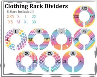 """Assembled """"Size"""" Clothing Rack Dividers - Design Set #1"""