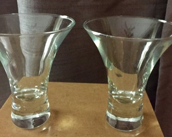 Set of 2 Vintage Low Ball Clear Bar Glasses (Whiskey Glasses)
