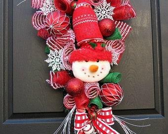 Christmas Wreath Swag - Christmas Front Door wreath - Christmas Swag - Christmas Door Swag - Snowman Wreath - Snowman Swag - Winter Wreath
