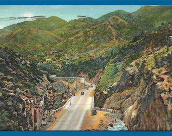 Vintage Linen Postcard - Road into Manitou Springs Surrounded by Hills as Seen From Ute Pass in Colorado  (2509)