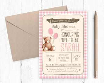 Baby Shower Invitation girl / Baby girl baby shower invitation / Gingham Teddy Bears Picnic / Baby girl / Printable invitations