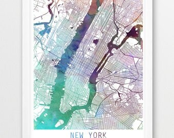 New York City Urban Map Poster, New York  Street Map Print, Purple Aqua Blue Watercolor New York, Modern Wall Art, Home Decor, Printable Art