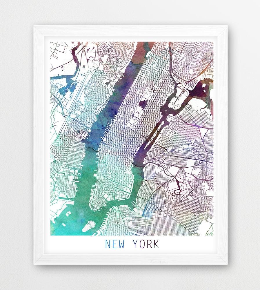 New York Map Etsy - New york map restoration hardware