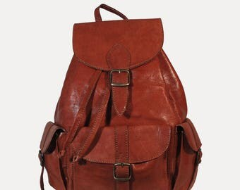Adventurer multi-Pocket cognac leather backpack