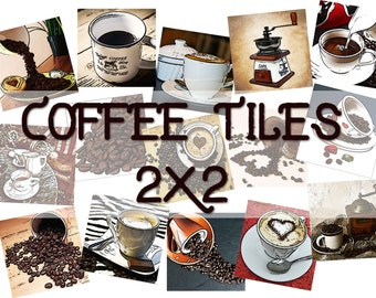 2x2 tiles clipart, coffee illustration, instant download, I love coffee clipart, scrapbooking, food illustration JPEG + PDF