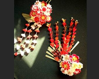 Janpanese  accessories kanzashi-geisha red-flower fork-kanzashi flower-set of two-Z46