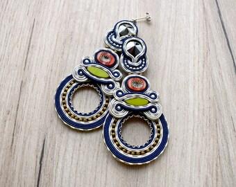 Extra long soutache handmade earrings.