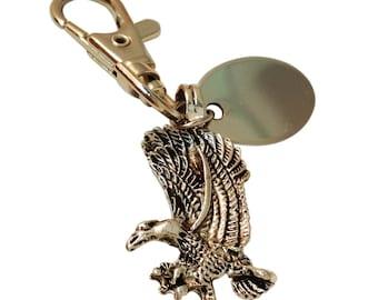 Eagle keyring, custom engraved personalised in velvet gift pouch BR310