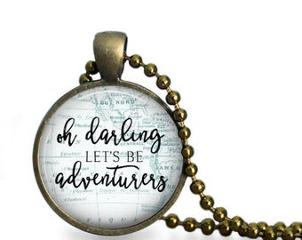 World Map, Travel Map, World Globe, Map Art, Explore, Let's Be Adventurers, Hello World, Quote Jewelry, Maps Necklace, Inspirational Pendant