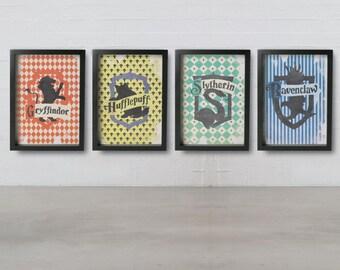 NEW, HOGWARTS HOUSE Crests Pattern posters - Gryffindor, Ravenclaw, Hufflepuff, Slytherin, Inspired Harry Potter Giclée Fine art prints.