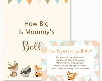 Baby Shower Games - How Big is Mommy's Belly Game - Woodland Baby Shower, Printable Shower Games - Guess how big mommys belly - Woodland