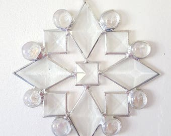 Clear Stained Glass Bevels Snowflake Suncatcher, Snowflake Ornament, Christmas Decoration, Christmas Ornament