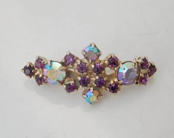 Small Purple Sparkly Faceted Stone Brooch Pin