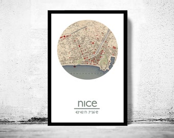 NICE - city poster - city map poster print