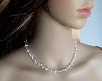 Swarovski bridal necklace, Swarovski Crystal and pearl cluster wedding necklace, Swarovski wedding jewelry, designer bridal jewellery gift