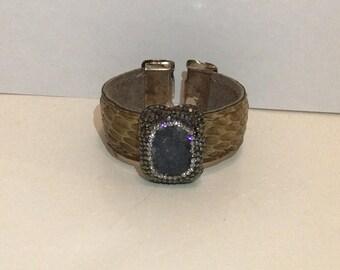 Vintage Turkish Snakeskin Cuff Bracelet