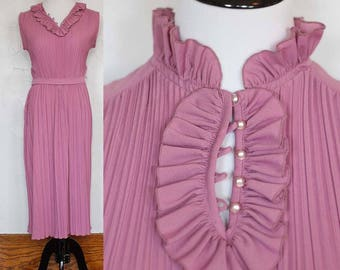 Vintage 1970s Checkaberry Purple Ruffle Dress