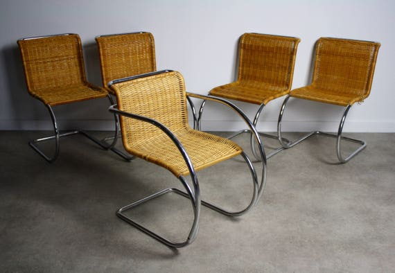 Set Of 5 Ludwig Mies Van Der Rohe MR10 Chairs For Stendig