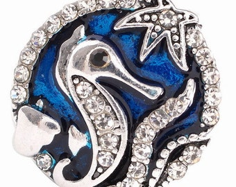 KC6144  Silver Plated Seahorse & Starfish Accented with Clear Crystals Set on Sea Blue Enamel