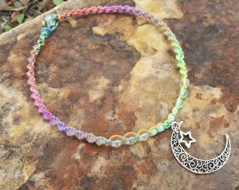 Kids Rainbow Hemp Necklace,  Jewelry, Gift for Daughter, Hemp Jewelry, Moon Pendant, Quartz, Girls, Kids Accessories, Crescent Moon Necklace