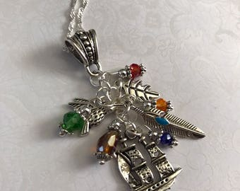 Pocahontas Necklace Leaf Hummingbird Ship Feather Colors of the Wind
